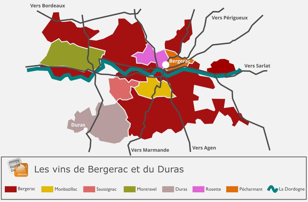 Carte des vins Bergerac et Duras